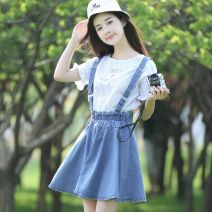 Dress Spring 2017 Light blue [with top], light blue [without top] S,M,L,XL Short skirt singleton  Sleeveless commute other Elastic waist Solid color Socket A-line skirt other straps 18-24 years old Type A he Pleating Shawl skirt with shoulder strap Denim cotton