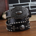 Belt / belt / chain top layer leather Earth yellow rivets Brown rivets black rivets male belt cowboy Single loop Middle aged youth Smooth button rivet Glossy surface 3.8cm alloy rivet It's not bad 110cm 115cm 120cm