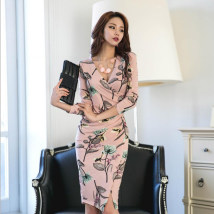 Dress Fall 2017 Picture color S M L XL Middle-skirt singleton  Long sleeves commute V-neck High waist Decor Pencil skirt Type X Other / other Korean version 31% (inclusive) - 50% (inclusive) Vinylon