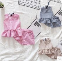 suit Other / other Red white check, khaki check, blue white check 100cm(7) 110cm(9) 120cm(11) 130cm(13) 140cm(15) female summer leisure time Sleeveless + pants 2 pieces No model nothing lattice children Expression of love JF5503 Other 100%