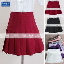 skirt Summer 2015 XS S M L XL 2XL 3XL 4XL Short skirt Sweet High waist A-line skirt Solid color Type A 81% (inclusive) - 90% (inclusive) other polyester fiber Pleated button zipper college
