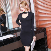 Dress Fall 2017 black S M L Middle-skirt singleton  Long sleeves commute other High waist Solid color Socket One pace skirt routine Others Other / other Ol style Hollow stitching DKZ17644 91% (inclusive) - 95% (inclusive) other cotton