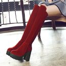 Boots 40-43 size customized non return 34 35 36 37 38 39 40 41 42 43 44 Red (common version) black (common version) red (thickened and velvet) black (thickened and velvet) PU Other / other Super high heel (over 8cm) Thick heel Cattle suede (frosted) Over the knee Round head Artificial short plush