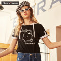 T-shirt White and white 170/92A/XL 165/88A/L 155/80A/S 160/84A/M Summer of 2018 Short sleeve Hood easy Regular routine Sweet cotton 96% and above 18-24 years old Funny Cartoon animation Meters Bonwe six hundred and three thousand five hundred and forty-three Ear decoration college