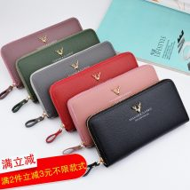 wallet Long Wallet PU Other / other Jujube purple Grey Green Black Pink brand new other female zipper Solid color 80% off Horizontal style Large banknote clip with concealed change slot and zipper slot Clemence  synthetic leather Y1003 synthetic leather