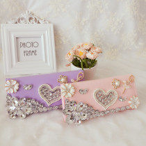 wallet Long Wallet PU Other / other Light pink rose powder purple light pink brand new Japan and South Korea female Buckles Diamond inlaid love 80% off Horizontal style youth Large banknote holder photo position zipper case ID card position Diamond inlay synthetic leather soft surface