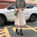 skirt Summer of 2018 S M Black apricot Mid length dress Versatile High waist A-line skirt Solid color Type A 18-24 years old Three hundred and eighty-four 31% (inclusive) - 50% (inclusive) polyester fiber Pocket button zipper