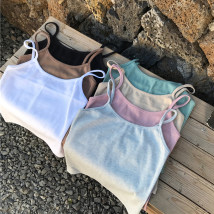 Vest sling Summer of 2018 Khaki pink white gray green black apricot Average size singleton  have cash less than that is registered in the accounts Self cultivation commute camisole Solid color 18-24 years old 71% (inclusive) - 80% (inclusive) polyester fiber