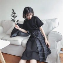 skirt Summer 2017 Average size Picture color commute High waist A-line skirt lattice Type A 18-24 years old Other / other Korean version