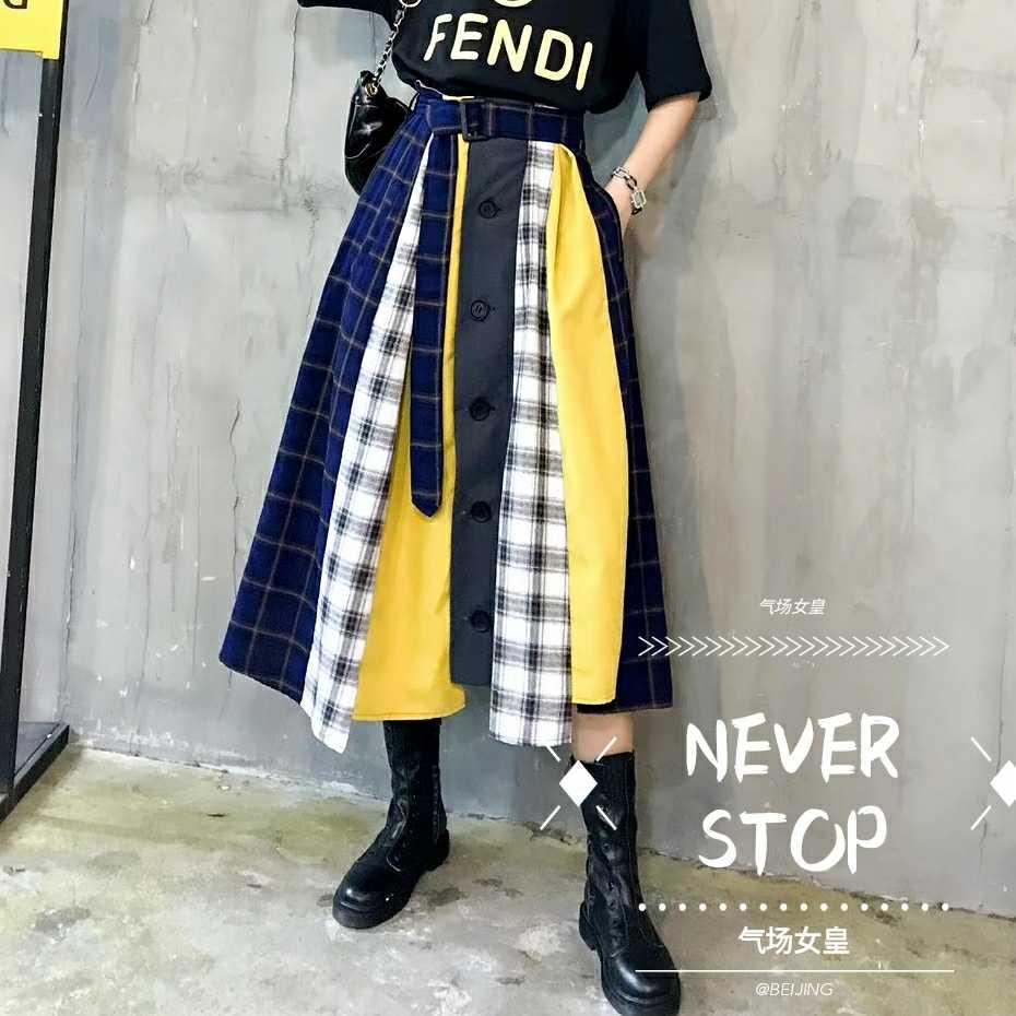 skirt Autumn of 2018 S M L Decor Mid length dress Versatile High waist Umbrella skirt lattice Type A Splicing