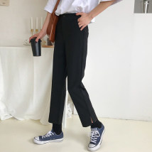 Casual pants black S M L Spring of 2018 Ninth pants Straight pants High waist commute routine 18-24 years old Korean version pocket