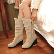 Boots 34 35 36 37 38 39 Beige pink yellow red gray green black Suede Other / other Middle heel (3-5cm) Slope heel Suede Middle cylinder Round head PU