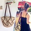 Bag The single shoulder bag paper Woven bag Other / other goods in stock brand new Fashion trend in soft Magnetic buckle yes Geometric pattern Double root One shoulder hand nothing Basket shape weave Soft handle polyester fiber Clip zipper pocket