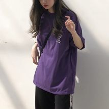 T-shirt Dark purple white Average size Summer of 2018 Short sleeve Crew neck easy Regular routine street cotton 30% and below 18-24 years old Other / other