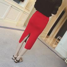 skirt Fall 2017 Average size Red light grey black longuette Versatile High waist skirt Solid color Type H knitting bow