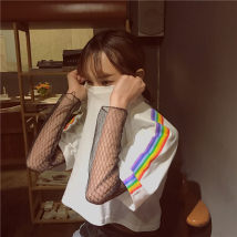 T-shirt White black M L XL 2XL Spring 2017 Short sleeve Crew neck easy have cash less than that is registered in the accounts routine commute cotton 31% (inclusive) - 50% (inclusive) 18-24 years old Korean version other three thousand two hundred and fifty
