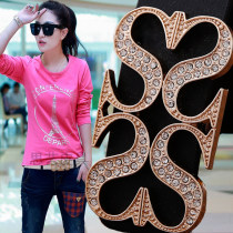 Belt / belt / chain Double skin leather female belt Versatile Single loop Youth Smooth button letter Glossy surface alloy 8005-9