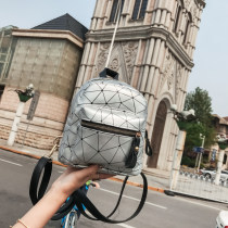 Backpack PU Other / other Pink Black Silver brand new Mini zipper leisure time Double root motion soft youth no Soft handle Geometric pattern female Water splashing prevention Vertical square inside pocket with a zipper no Inner patch pocket soft surface