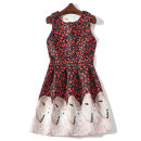 Dress Spring of 2018 Red 5680-a42 white 5680-a42 S M L XL Middle-skirt singleton  Sleeveless commute Crew neck High waist Decor Socket A-line skirt other Others Type A lady 51% (inclusive) - 70% (inclusive) other polyester fiber