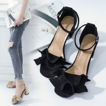 Sandals 34 35 36 37 38 39 Beige simple black simple BEIGE BLACK Other / other Suede Barefoot Square heel Middle heel (3-5cm) Summer of 2018 Flat buckle Korean version Solid color Adhesive shoes Youth (18-40 years old) rubber Front and rear trip strap Flower thick heel T-belt (instep) Hollow PU PU