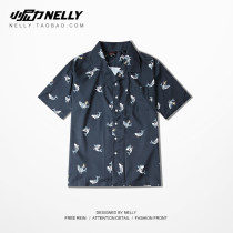 shirt Youth fashion HEYBIG M L XL 2XL Navy Blue routine Short sleeve square neck easy Other leisure autumn CJH126092AQHH teenagers tide 2018 other other printing