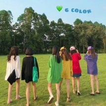 T-shirt Blue purple white yellow red green black Average size Summer of 2018 Long sleeves Crew neck easy Medium length routine commute cotton 96% and above 18-24 years old Korean version youth eight thousand and forty-two