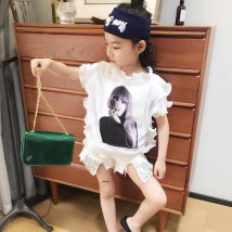 T-shirt White black Other / other 7/100cm 9/110cm 11/120cm 13/130cm 15/140cm 17/150cm female summer Short sleeve Crew neck princess There are models in the real shooting nothing cotton other Cotton 85% others 15% M869