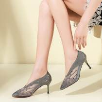 Sandals 34 35 36 37 38 39 40 Grey black Other / other Superfine fiber Baotou Fine heel High heel (5-8cm) Summer of 2018 Trochanter sexy Solid color Adhesive shoes Youth (18-40 years old) middle age (40-60 years old) rubber daily Bag heel Hollow diamond mesh Low Gang Man Gang Pig skin Pig skin