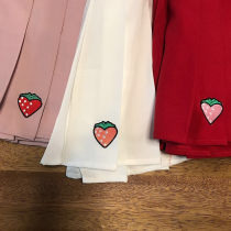 skirt Spring 2017 S M L White pink red Short skirt fresh High waist Pleated skirt Cartoon animation Type A 18-24 years old 51% (inclusive) - 70% (inclusive) brocade Other / other nylon