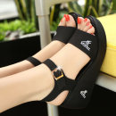 Sandals 35 36 37 38 39 White black Xindaphne top layer leather Barefoot Slope heel High heel (5-8cm) Summer of 2018 Velcro leisure time Solid color Adhesive shoes Youth (18-40 years old) middle age (40-60 years old) polyurethane daily Rear trip strap Low Gang Lateral space Pig skin Microfiber skin