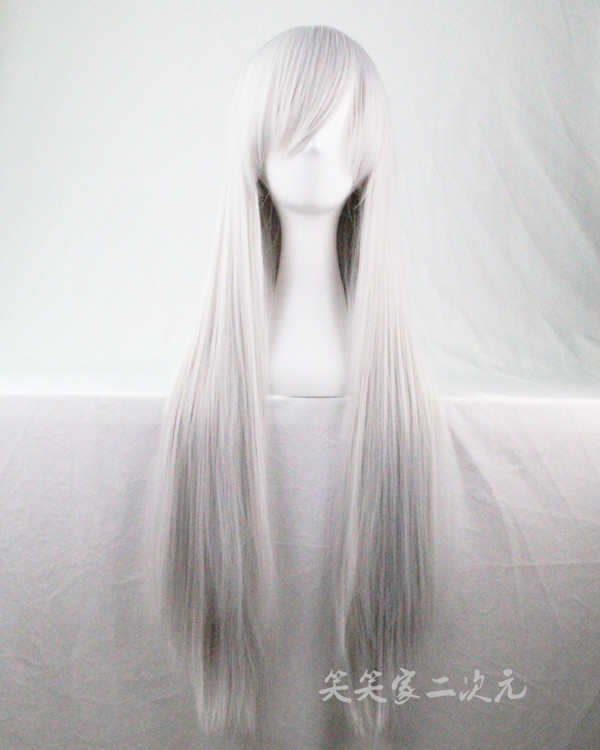 Whole wig Silver grey 100cm High temperature silk Long straight hair Animation cos Can be even or oblique bangs