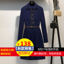 Dress Autumn of 2018 Navy Blue S M L XL Mid length dress singleton  Long sleeves commute Polo collar High waist Solid color zipper A-line skirt routine Others Type A imperial concubine Korean version Bow tie button FZ1614LA