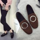 Low top shoes 35 36 37 38 39 40 Daphne 11 Black Suede 11 Green Suede 11 Brown Suede 111 Black Leather 111 white leather Square head Flat heel PU Midmouth Flat heel (1cm or less) cloth Spring of 2018 Trochanter Korean version Adhesive shoes Solid color rubber T-strap  Metal decoration