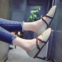 Low top shoes 35 36 37 38 39 40 Beibeile Brown Black off white Round head Flat bottom PU Shallow mouth Low heel (1-3cm) PU Spring of 2018 Trochanter PU