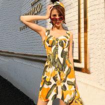 Dress Summer of 2018 Yellow printing S M L Short skirt singleton  street High waist Princess Dress camisole Type H Nail bead JT233 Europe and America