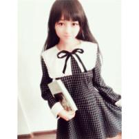Dress Autumn of 2018 Plaid Dress S code ~ spot M code ~ spot l code ~ spot Middle-skirt Long sleeves Sweet Crew neck lattice zipper Big swing 18-24 years old Sauce 51% (inclusive) - 70% (inclusive) brocade cotton Lolita