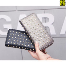 wallet Long Wallet PU Yilinbao Black gold pin purse, champagne gold pin Purse brand new Europe and America female zipper Geometric pattern 80% off Horizontal style youth Other large banknote clip concealed slot rivet Baoer net bag 9902 soft surface