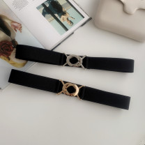 Belt / belt / chain Pu (artificial leather) Gold button black, silver button black female Waistband Versatile Single loop Youth, youth, middle age Smooth button Geometric pattern soft surface 3cm alloy Bare body, embossing, heavy line decoration, elastic