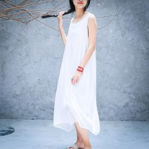 Dress Summer 2017 White, black XL,L,M,S Mid length dress singleton  Sleeveless commute Crew neck Solid color Type A Three summers literature q0502 30% and below silk