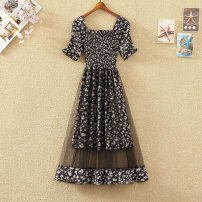 Dress Spring 2021 Black, white, pink S,M,L,XL longuette singleton  Short sleeve commute square neck High waist Decor Socket A-line skirt pagoda sleeve Others 18-24 years old Type H lady 31% (inclusive) - 50% (inclusive) Chiffon polyester fiber
