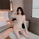 Dress Winter 2020 Black, nude S,M,L Miniskirt singleton  Long sleeves commute One word collar High waist Solid color Socket One pace skirt camisole Type H lady cotton
