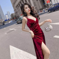Dress Autumn of 2018 Black, jujube Average size longuette singleton  commute V-neck High waist Solid color Socket One pace skirt camisole Type H lady backless