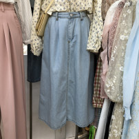 skirt Spring 2021 S, M Dark blue, light blue Mid length dress commute High waist Denim skirt Solid color Type A 18-24 years old 51% (inclusive) - 70% (inclusive) other Korean version