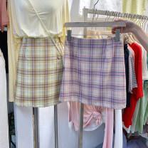 skirt Summer of 2019 S,M,L Yellow, pink Short skirt commute High waist A-line skirt lattice Type A 18-24 years old 30% and below Korean version