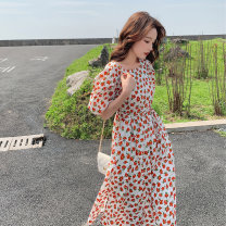 Dress Summer 2021 Picture color S,M,L,XL Middle-skirt singleton  Short sleeve commute Crew neck High waist Solid color Socket other puff sleeve Others 18-24 years old Type A Korean version Button, print 51% (inclusive) - 70% (inclusive) other cotton