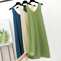 Dress Autumn of 2019 Apricot, black, Avocado Green, coffee, haze blue S,M,L,XL longuette singleton  Sleeveless commute V-neck Loose waist Solid color Socket A-line skirt Others Type A LMSX Korean version S012 81% (inclusive) - 90% (inclusive) knitting other