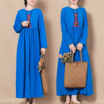 Dress Spring of 2019 Blue long sleeves M,L,XL,2XL longuette singleton  Long sleeves commute Crew neck Decor Socket routine Others Other / other ethnic style Embroidery 71% (inclusive) - 80% (inclusive) other hemp