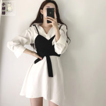 Dress Autumn 2020 Dress + Beige breast wrap, dress + black breast wrap S,M,L,XL Short skirt Two piece set Long sleeves commute Polo collar High waist Solid color Single breasted Irregular skirt shirt sleeve camisole 18-24 years old Type A Other / other Korean version