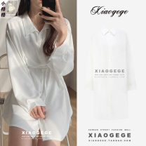 Dress Spring 2021 white S,M,L,XL Short skirt singleton  Long sleeves commute Polo collar High waist Solid color Single breasted Irregular skirt shirt sleeve Others Type H Korean version Strap, button three thousand two hundred and ninety-nine # other
