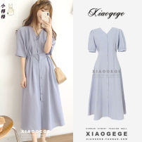 Dress Spring 2021 blue S,M,L,XL Mid length dress singleton  Short sleeve commute V-neck High waist Solid color Single breasted A-line skirt puff sleeve Others 18-24 years old Type A Korean version Bow, tie, tie, button other